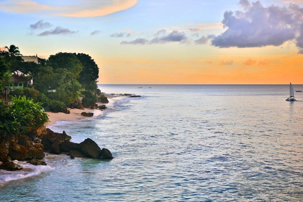 Barbados sea sunset