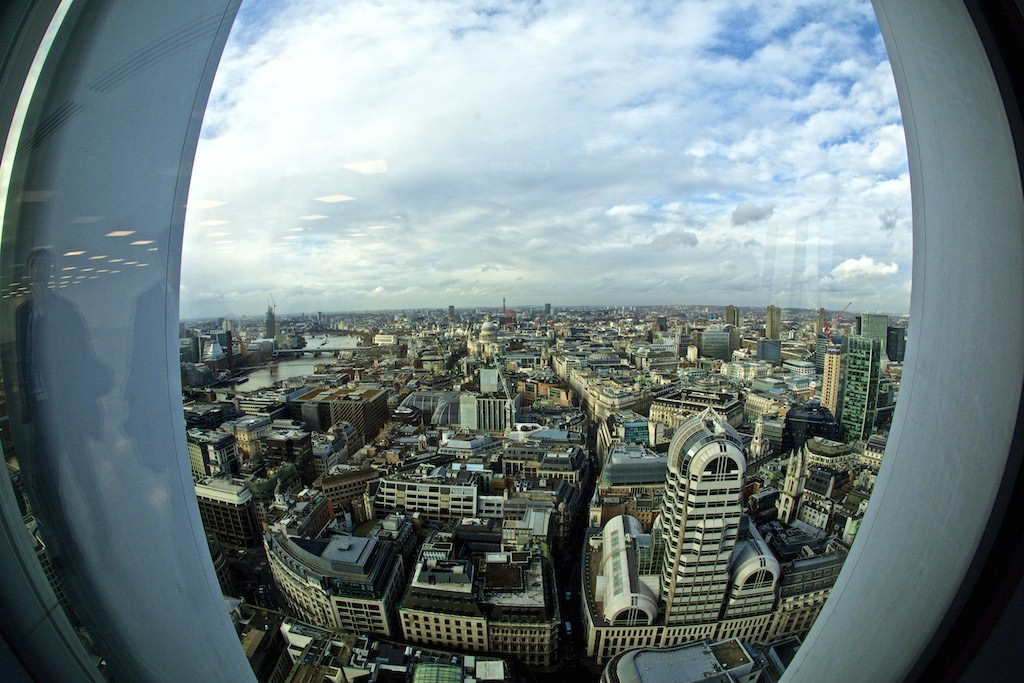 View of London from the sky garden at 20 Fenchurch street in London