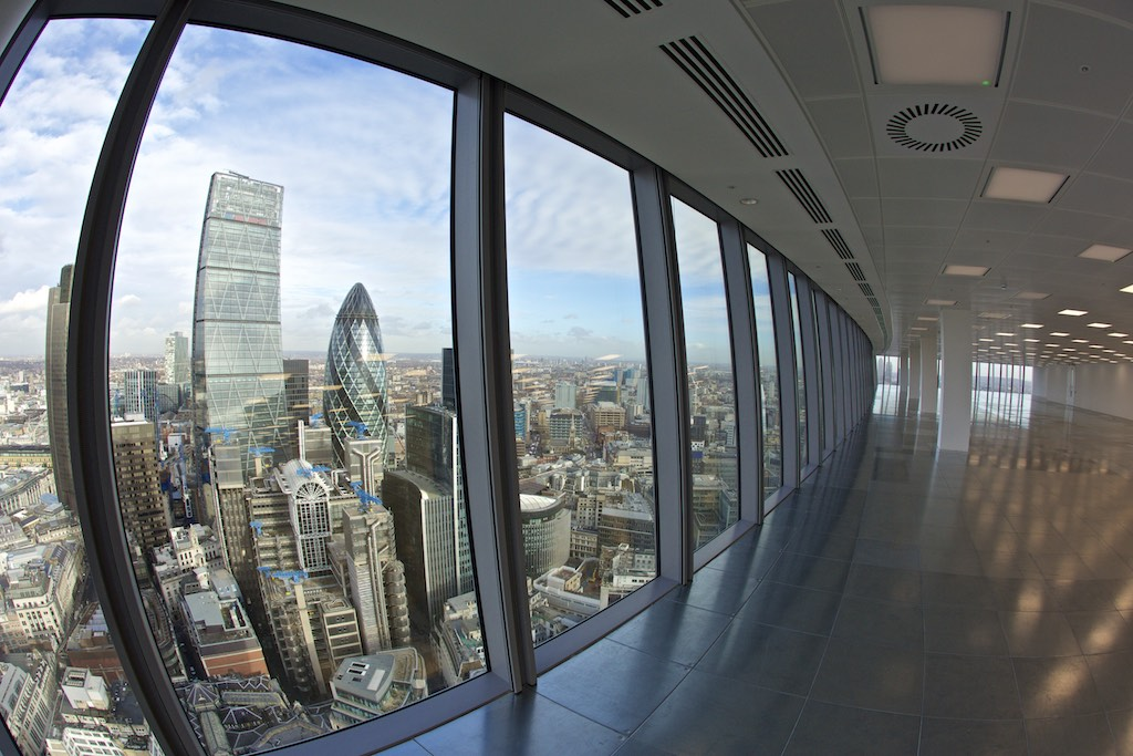 View of London from an empty office at 20 Fenchurch street in London