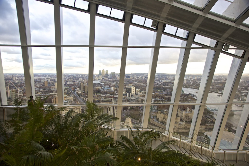 View of the sky garden at 20 Fenchurch street in London