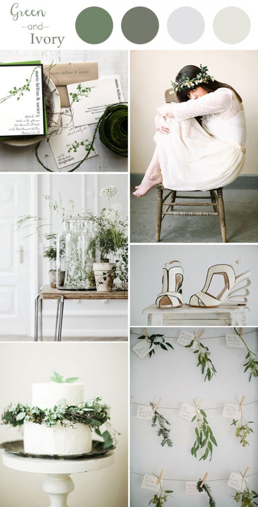 chic-green-and-ivory-wedding-color-ideas-2016