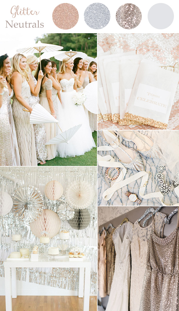 Glitter neutral wedding colors for 2016 trends with metallics and